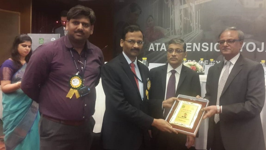 Bank wins award for its outstanding performance in the Atal Pension Yojana Campaign conducted by PFRDA on 16.11.2018